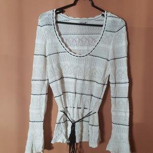 Venus white & black bell sleeve sweater